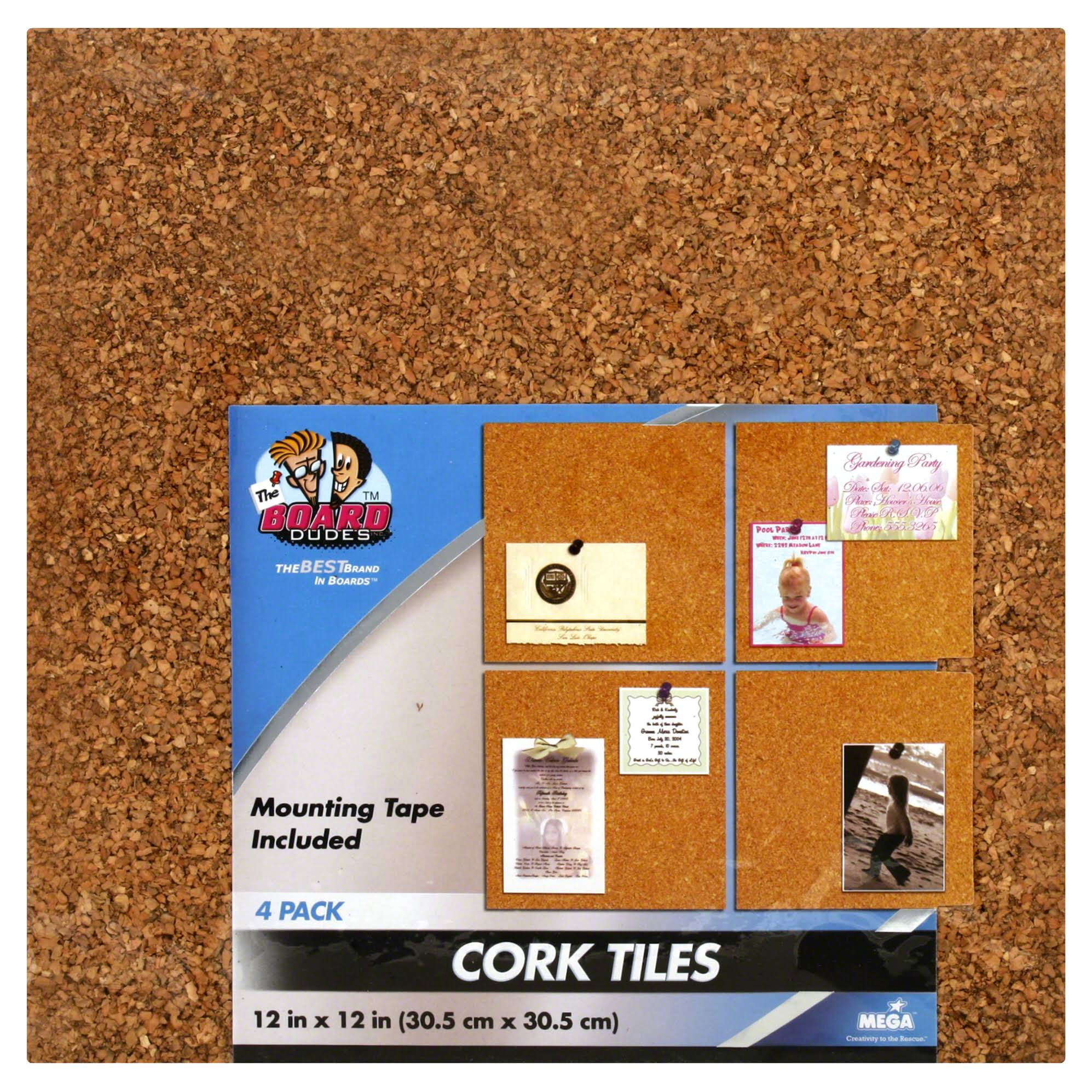 "The Board Dudes Cork Tile - 1/4"" x 12"" x 12"", Light, 4pcs"
