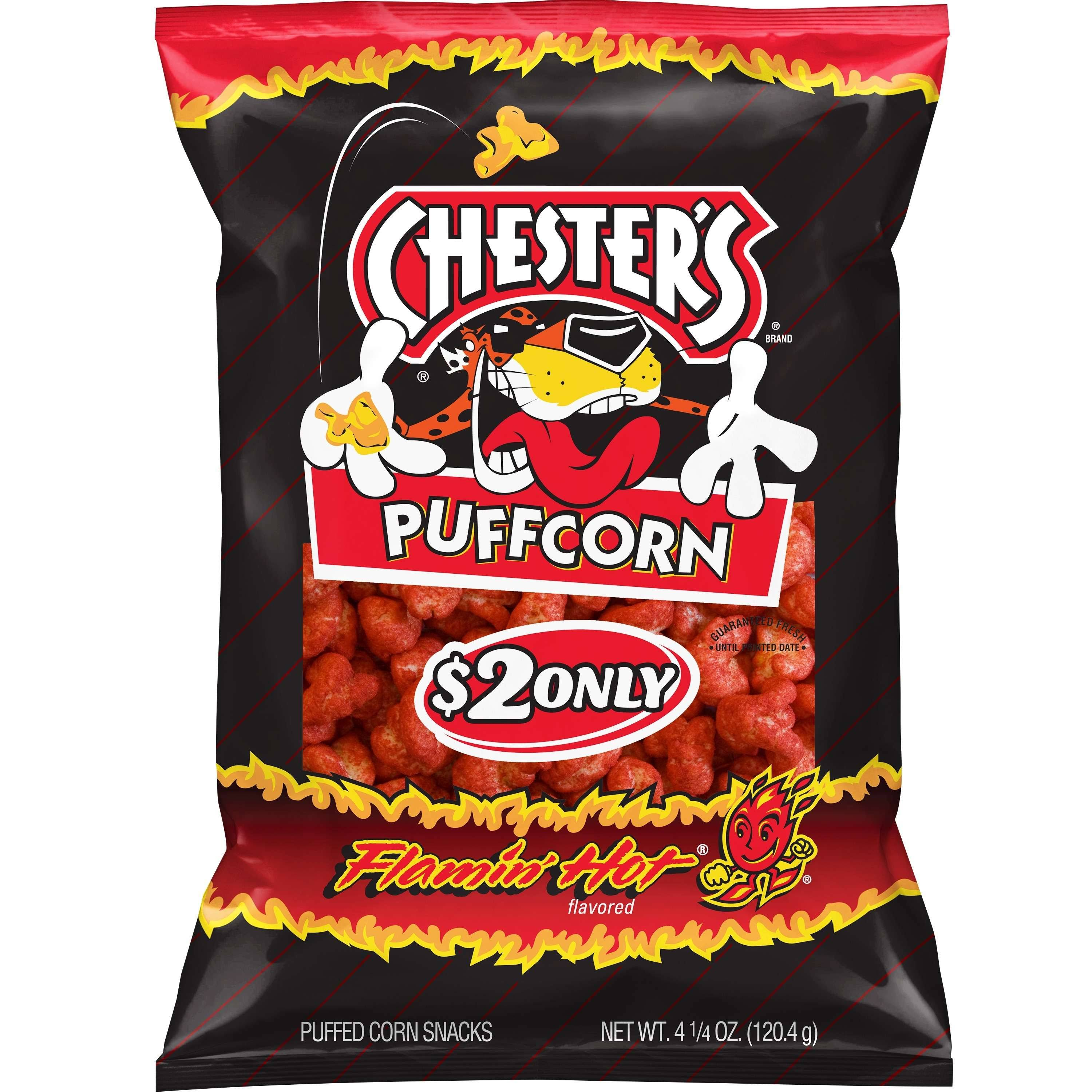 Chesters Puffed Corn Snacks, Flamin' Hot Flavored - 4.25 oz