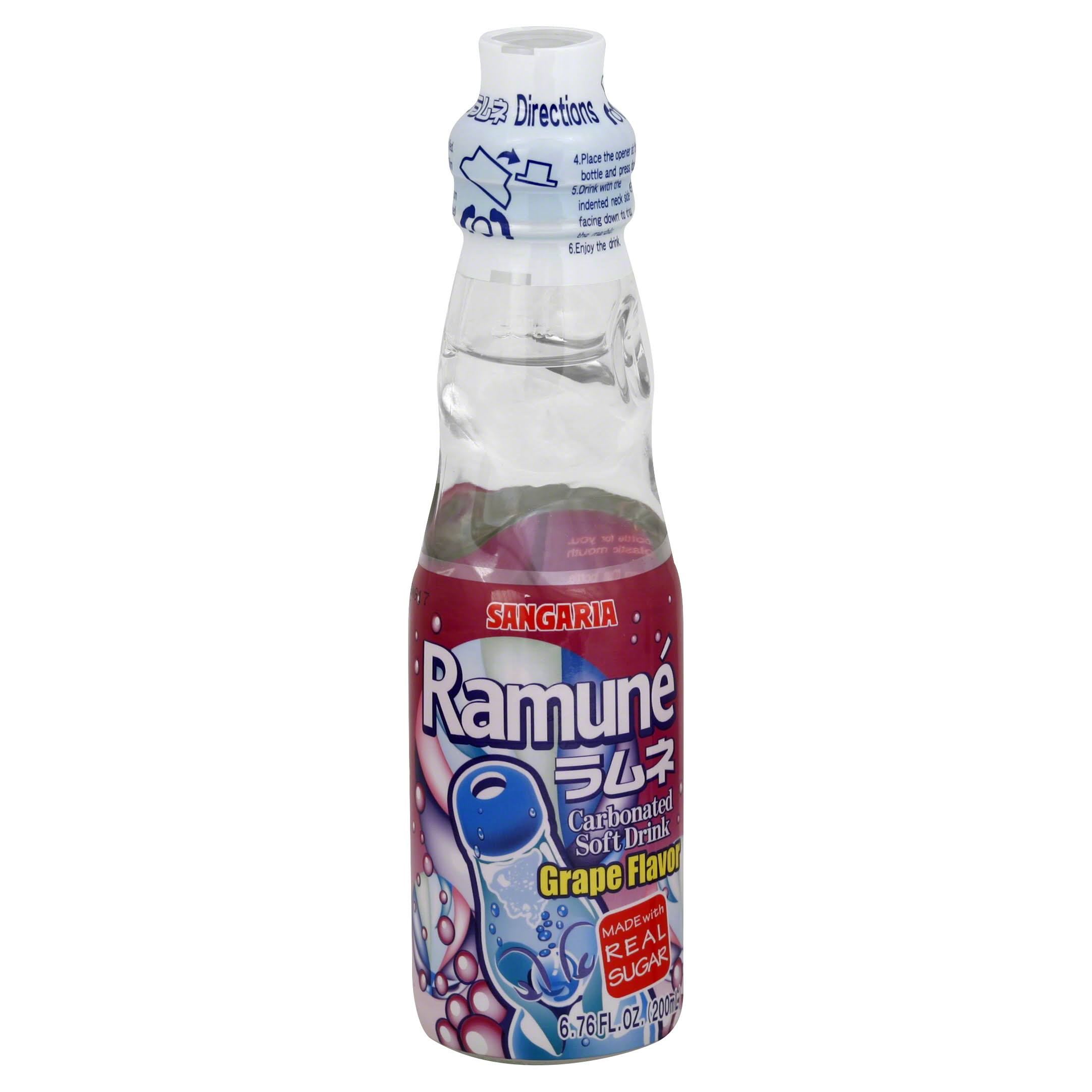Sangaria Soft Drink, Carbonated, Ramune, Grape Flavor - 6.76 fl oz