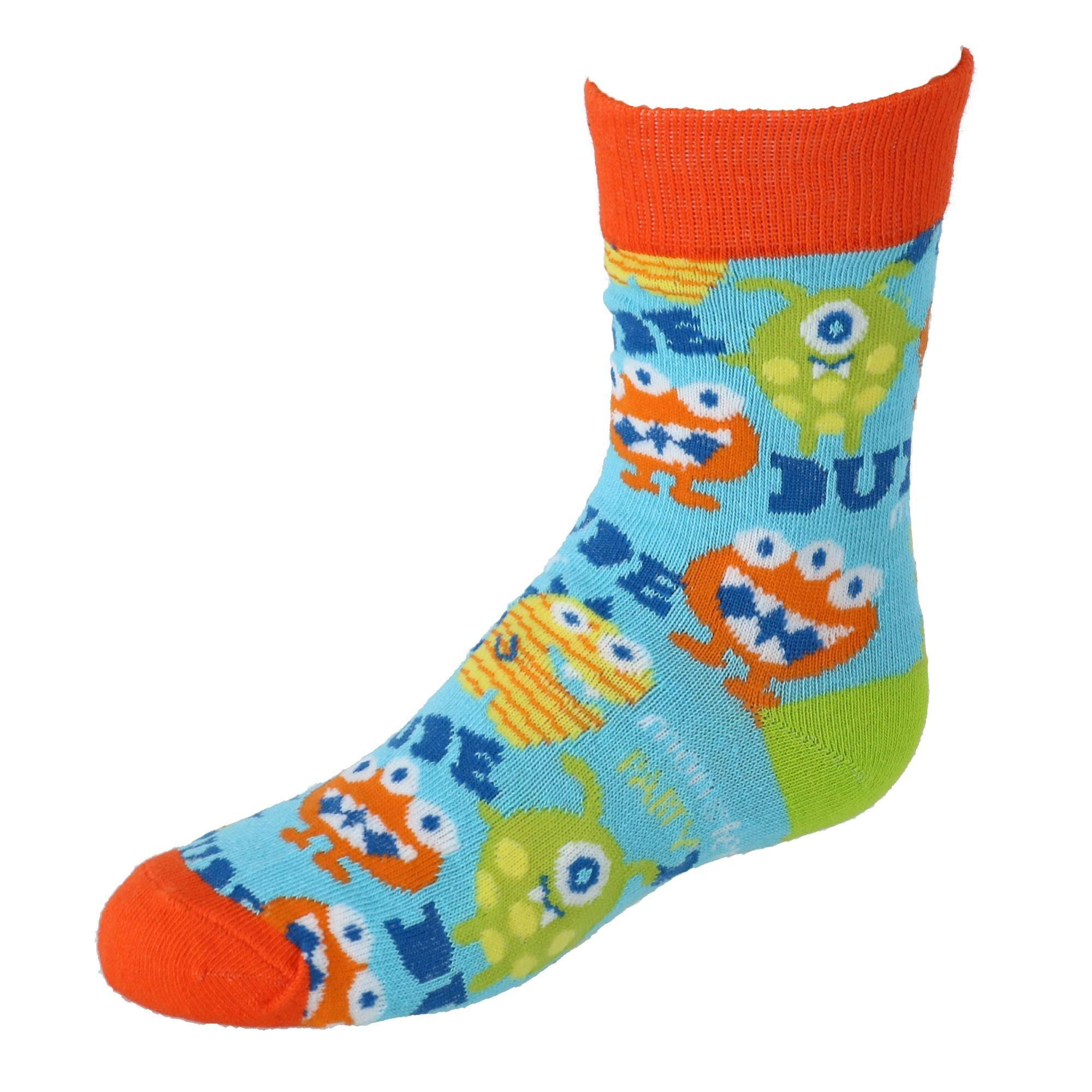 Two Left Feet Kids Novelty Crew Socks - Monster Small Medium