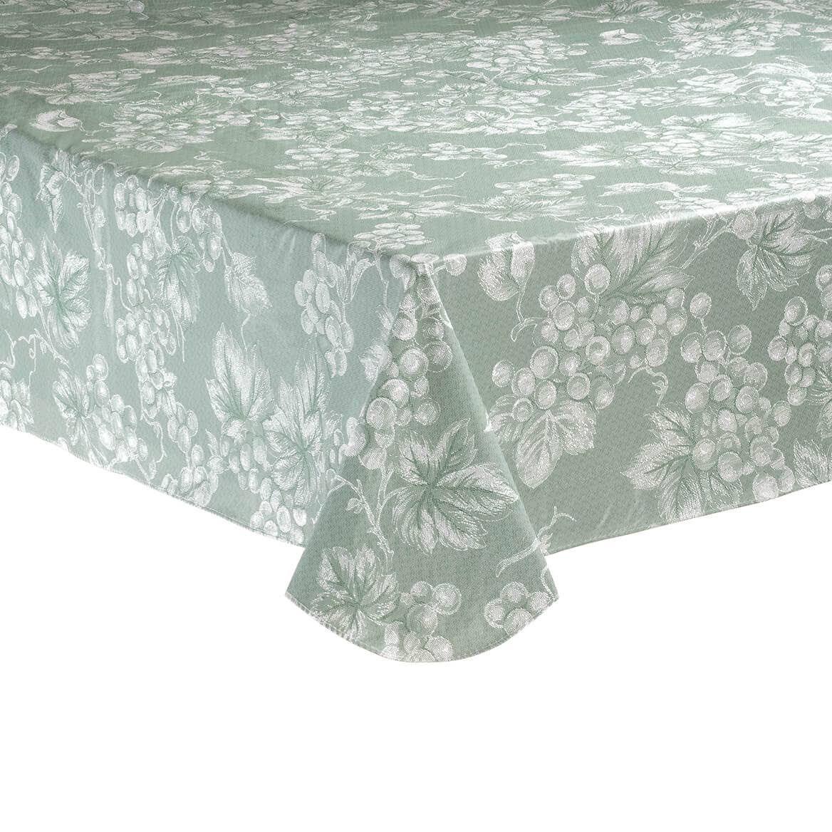 Sage Green Grapevine Vinyl Tablecloth 60x84 Oblong