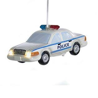 Kurt Adler Battery Operated Resin Police Car Led Ornament - 4""