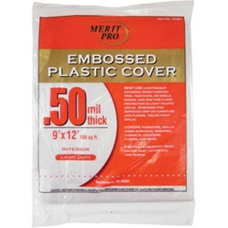 Merit Pro 381 Dynamic Embossed Plastic Cover - .50mil x 9' x 12'