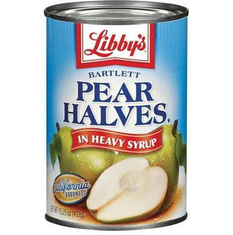 Libby's Fruits Bartlett In Heavy Syrup Pear Halves 15.25 Oz Can