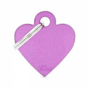 My Family Pet ID Tag Heart - Small, Purple