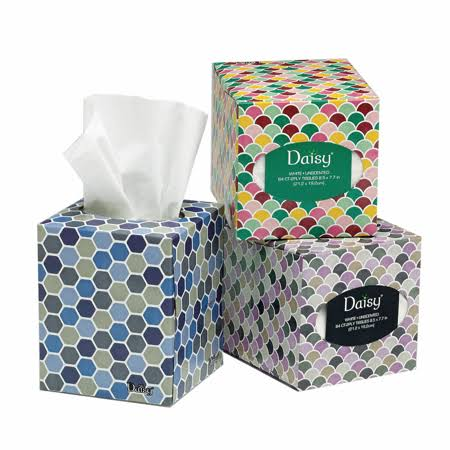 Daisy Facial Tissue 2Ply Cube 84ct, Multicolor