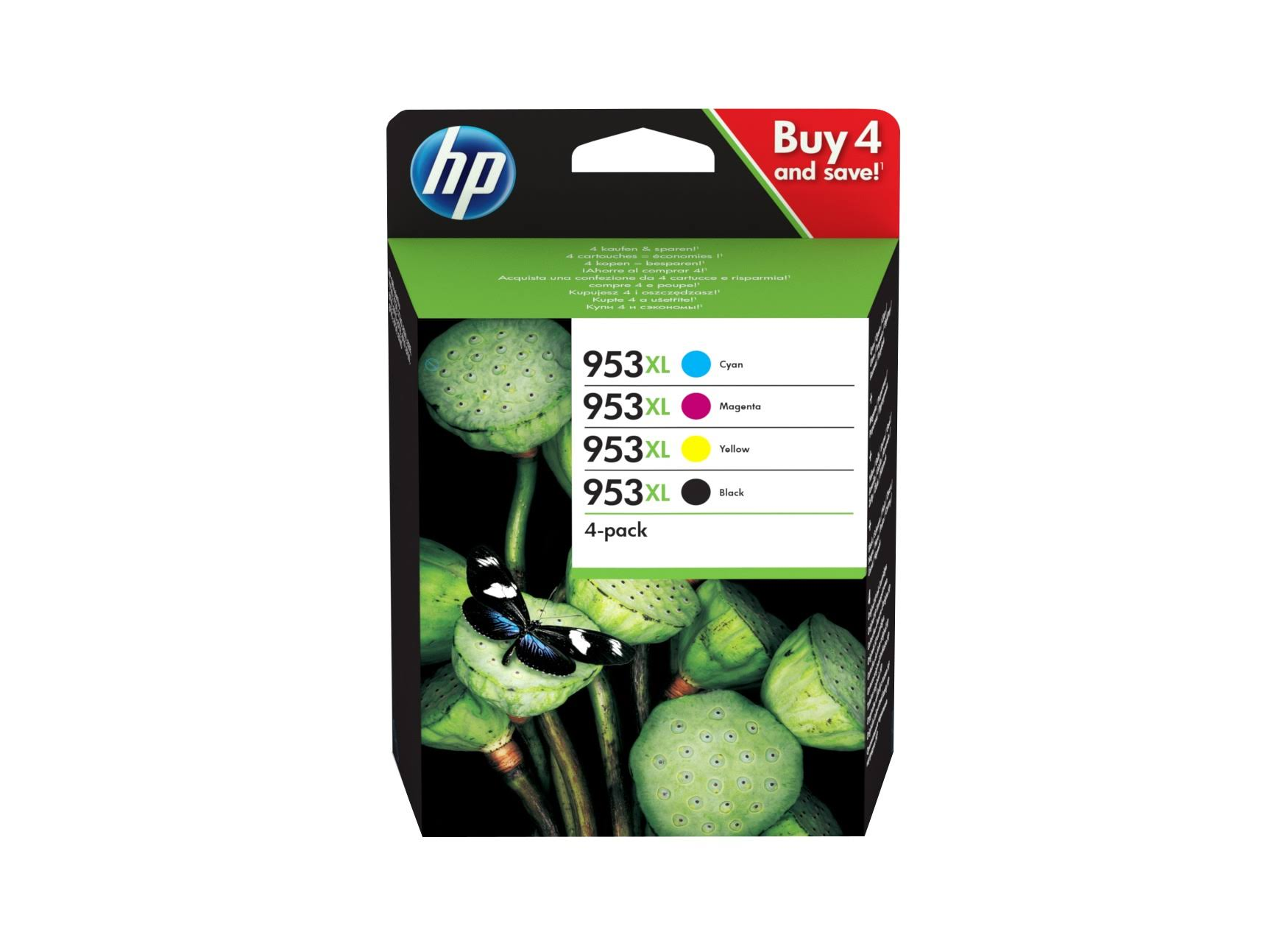 HP 953XL High Yield Ink Cartridge - CMY, 1,600 Pages, 4pk