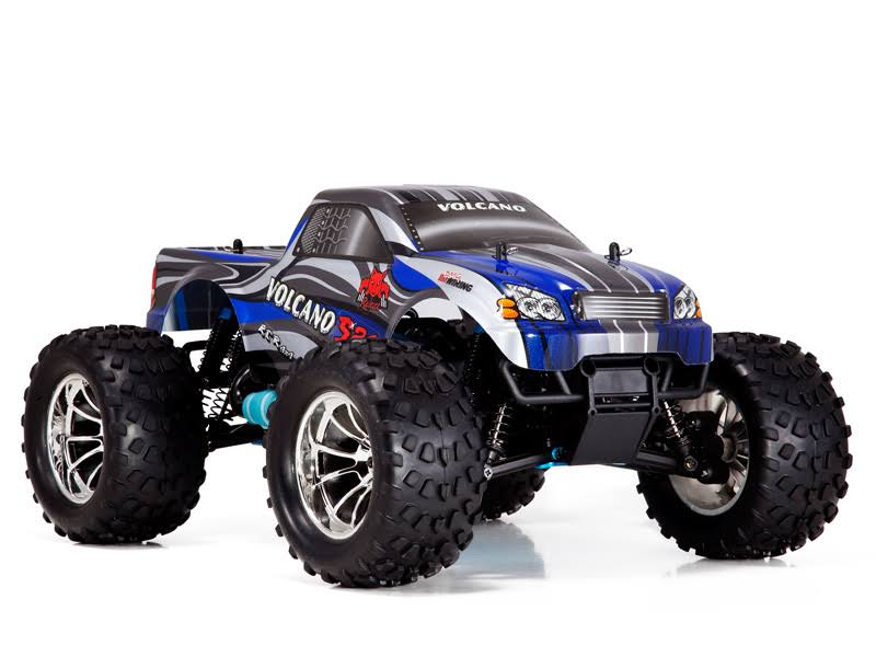 Redcat Racing Volcano S30 NITRO Monster Truck Model Toy - 4x4, RTR Blue, 1:10 Scale