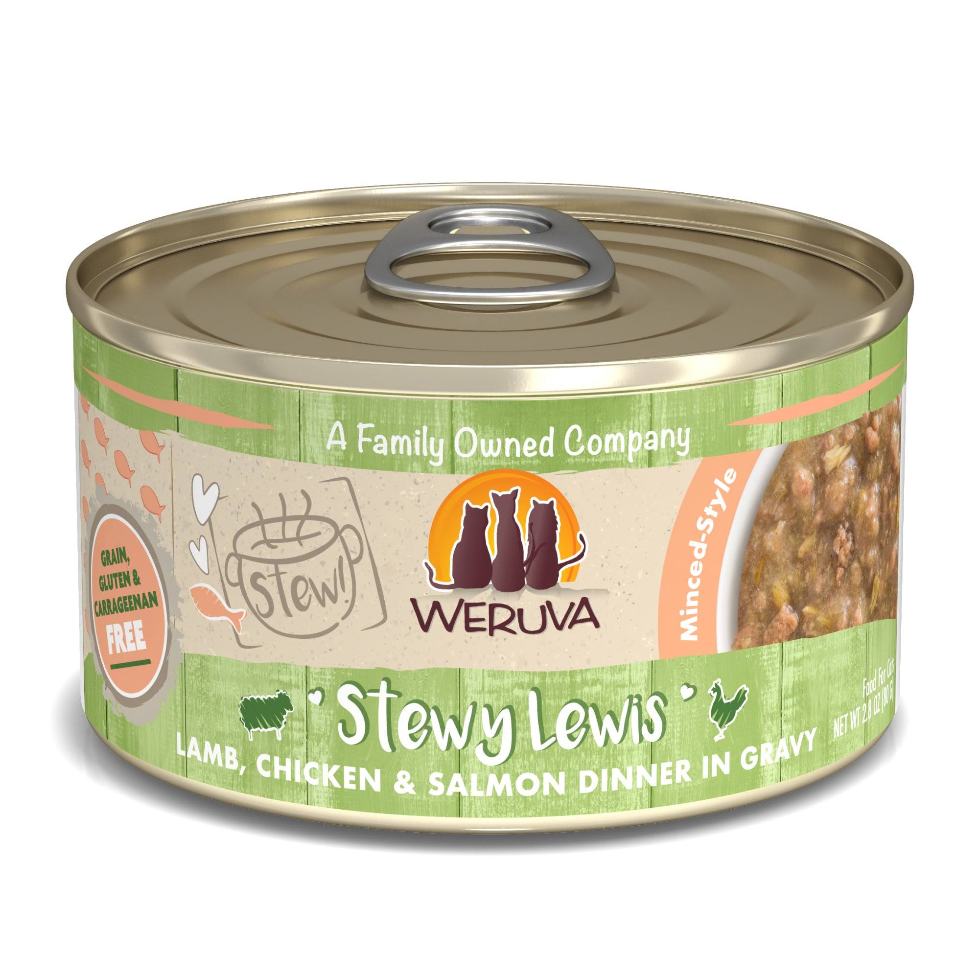 Weruva Stew! Stewy Lewis Lamb, Chicken & Salmon Dinner in Gravy Wet Cat Food, 2.8 oz., Case of 12