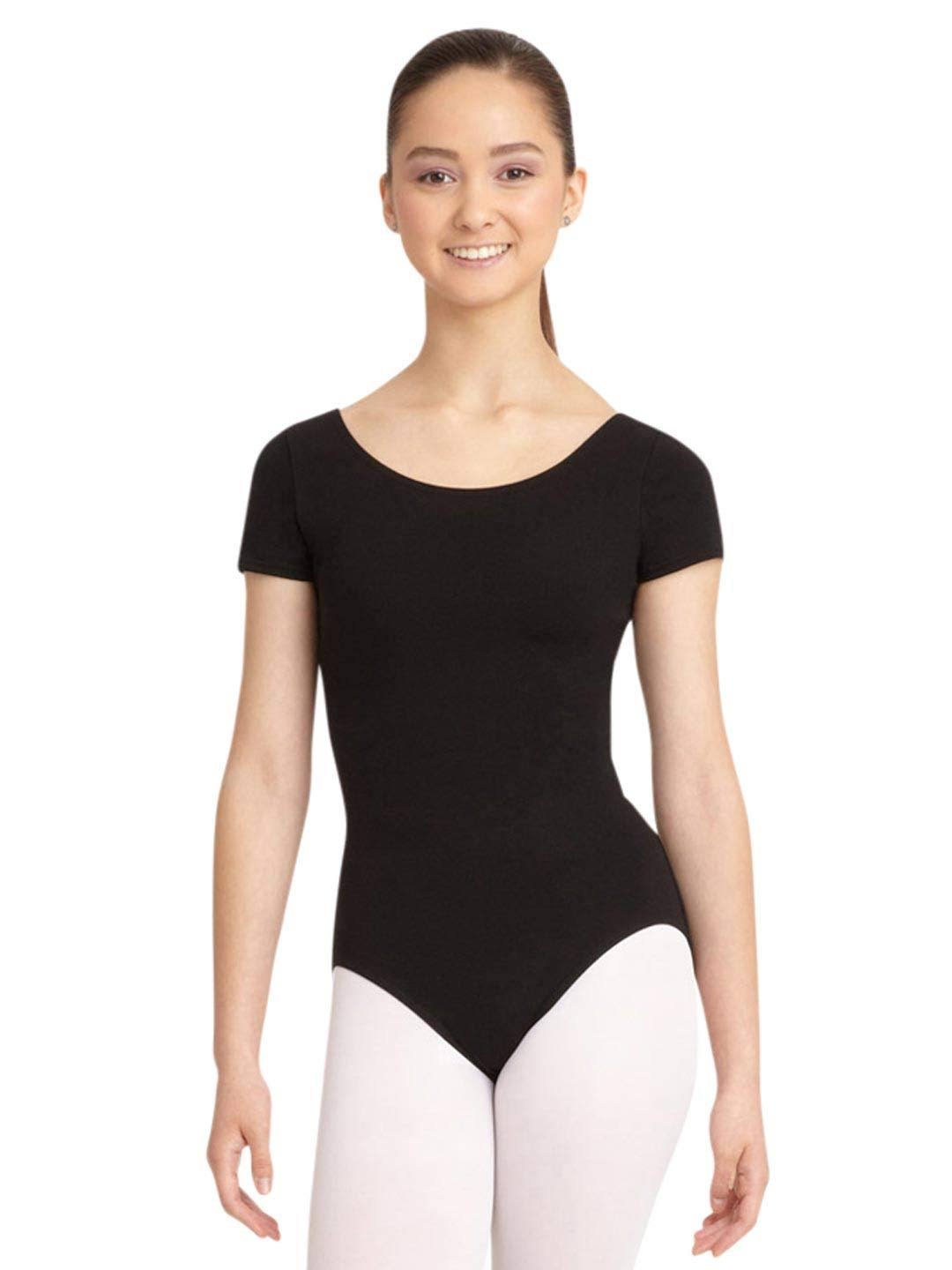 Capezio Short Sleeve Leotard, Women's, Size: XL (125), Black