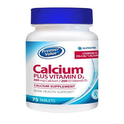 Premier Value Calcium +D Supplement - 500mg Tablet 75 ct. Premier Value.