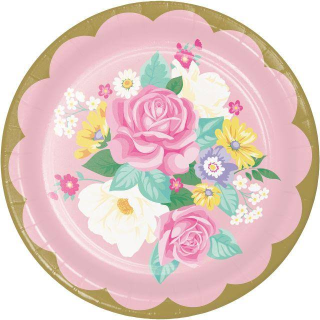 Party Creations Sturdy Style Plates, Floral Tea Party 339796 - 8 plates