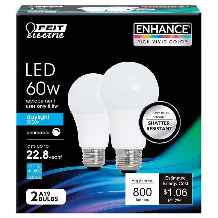 Feit Electric Dimmable Led Bulb - 800 Lumens, 2 Pack