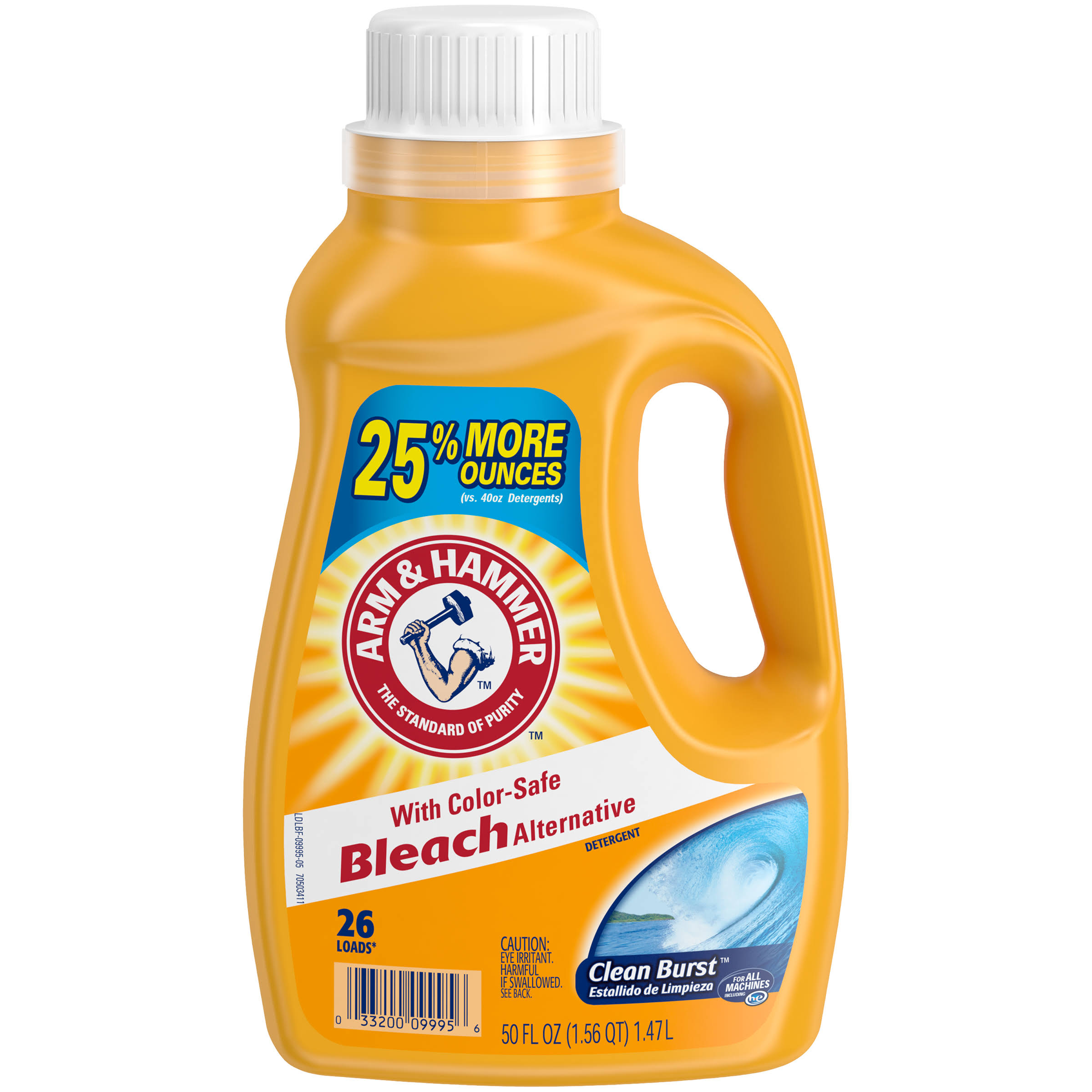 Arm and Hammer Liquid Laundry Detergent Clean Burst with Bleach - 50oz