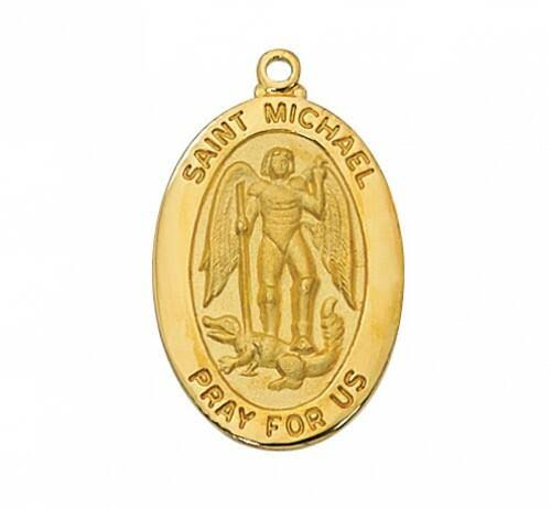 Gold Over Sterling Silver Saint Michael Medal 20 inch Chain & Box