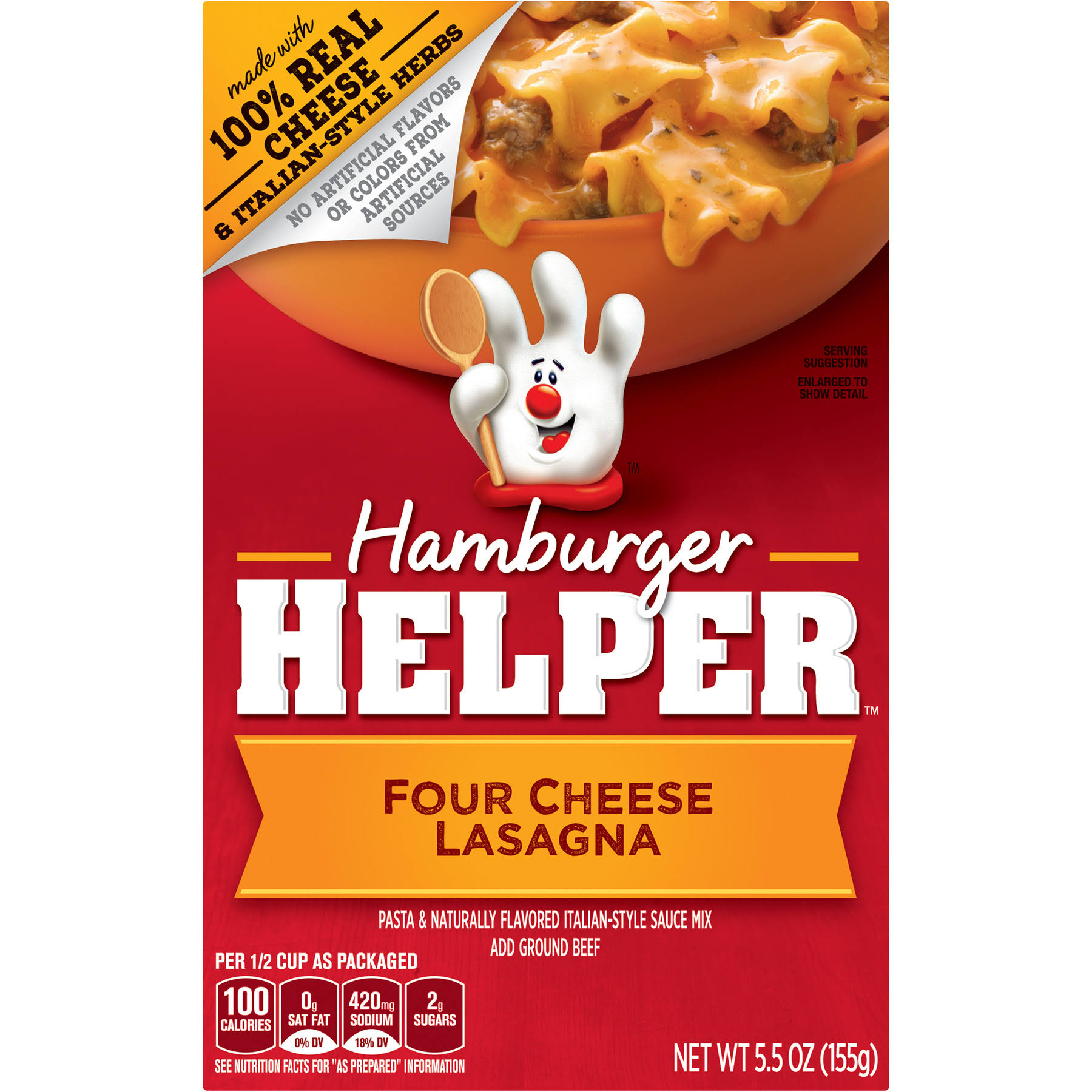 Hamburger Helper Four Cheese Lasagna Pasta and Naturally Flavored Italian-Style Sauce Mix - 5.5oz