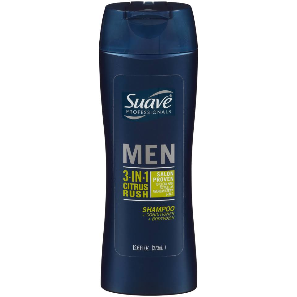 Suave Men 3 in 1 Shampoo Conditioner and Body Wash - Citrus Rush, 350ml