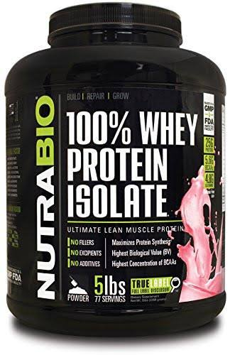 NutraBio Whey Protein Isolate - 5 Pounds Strawberry