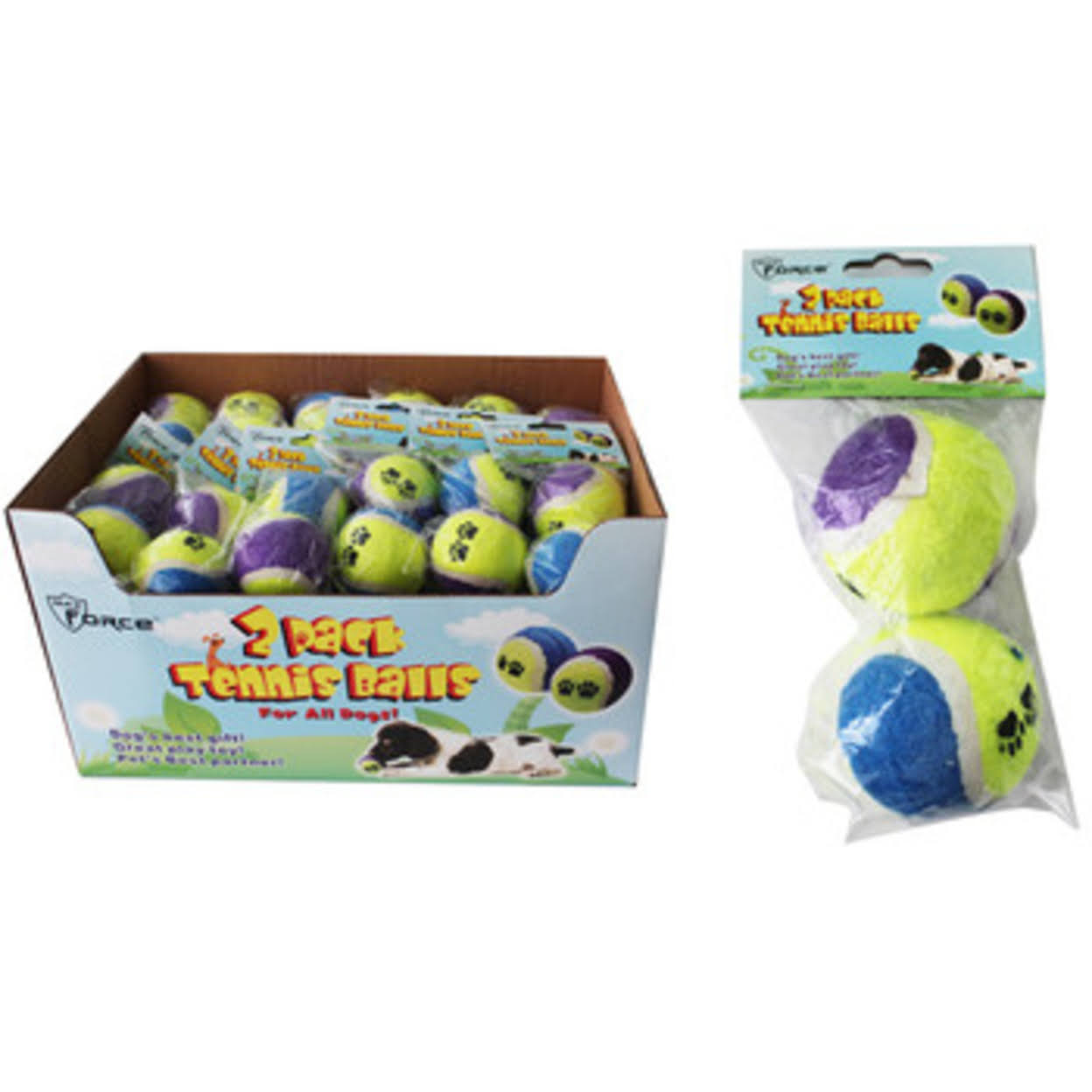 Case of [36] Dog Toy Tennis Balls - 2 Pack