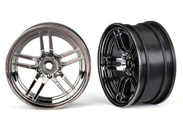 Traxxas Front Split Spoke Wheels - Black Chrome, 1.9""
