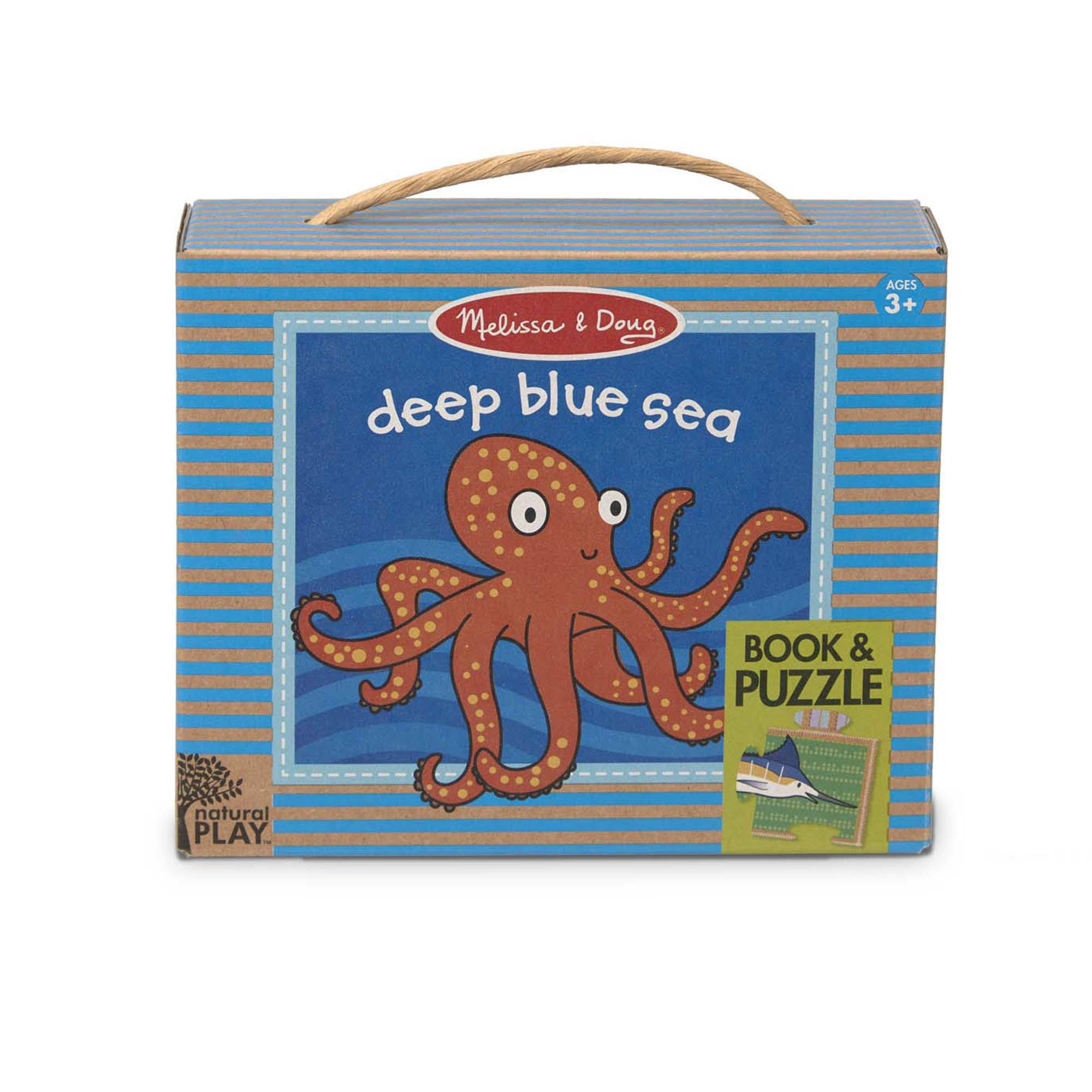 Melissa & Doug Natural Play Book & Puzzle Deep Blue Sea
