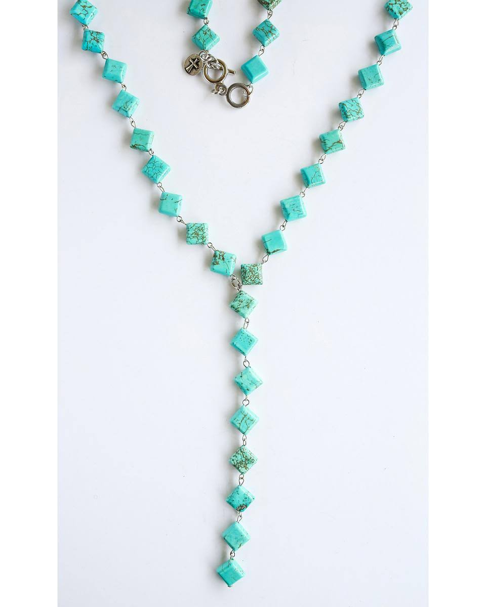 West & Co. Women's Turquoise Diamond V Necklace