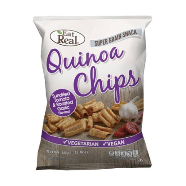Eat Real Quinoa Chips - Sun Dried Tomato & Garlic, 80g