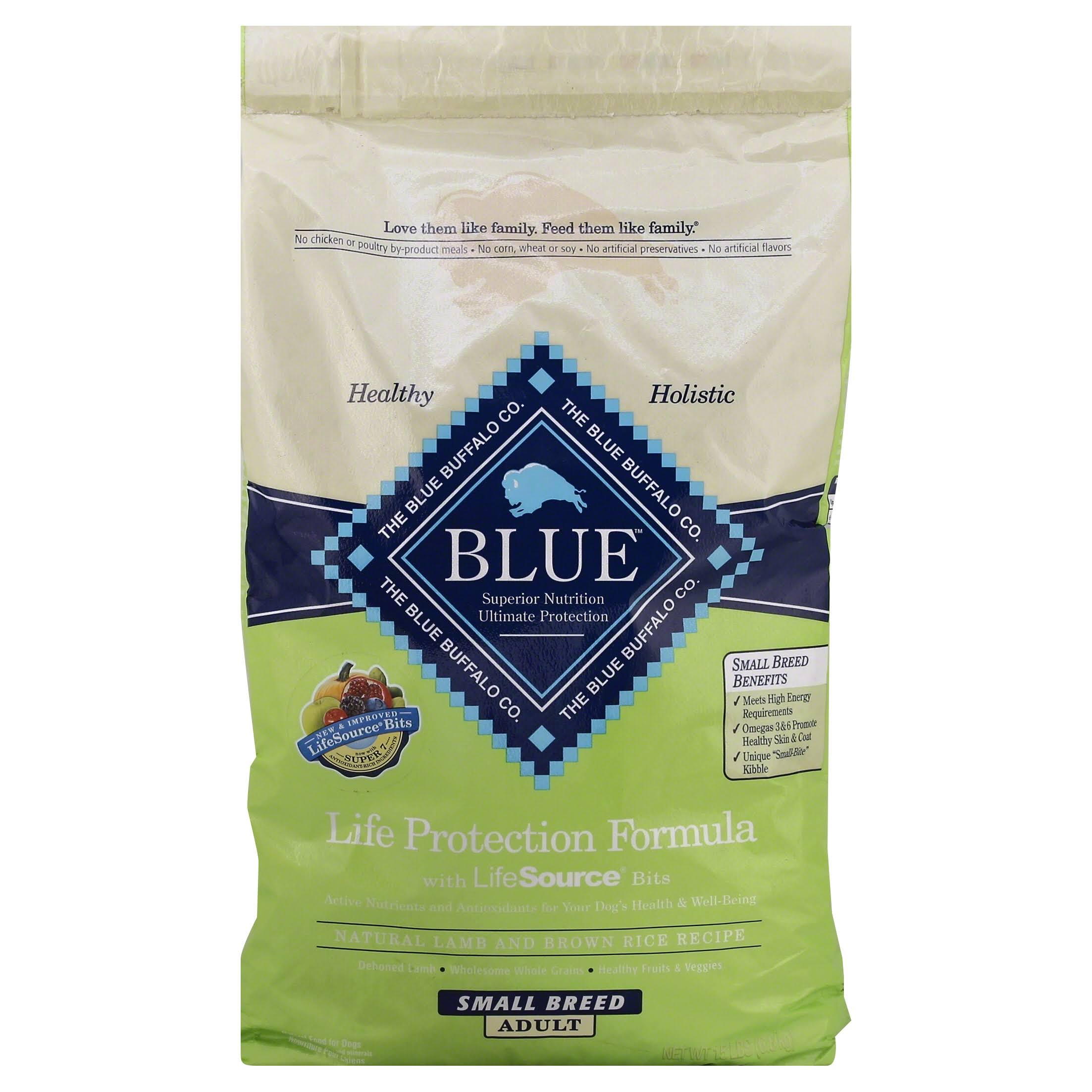 Blue Buffalo Dry Dog Food - Adult, Small Breed, Lamb and Brown Rice, 15lbs