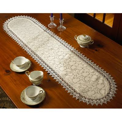 "Violet Linen Flower Bow Embroidered Lace Vintage Design Table Runner 14"" x 36"" Ivory"