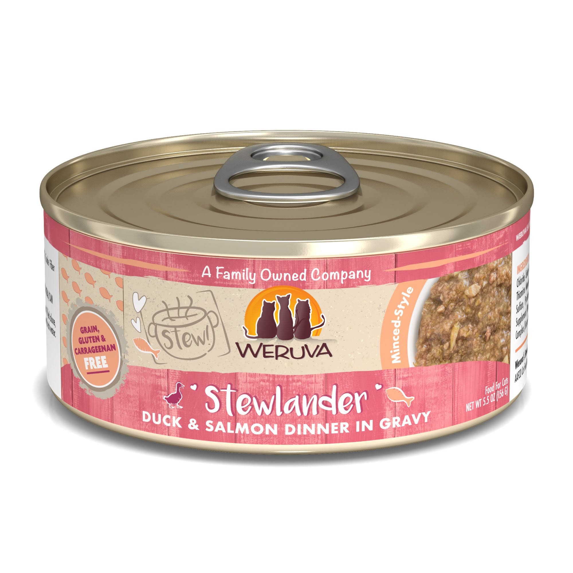 Weruva Stew! Stewlander Duck & Salmon Dinner in Gravy Wet Cat Food, 5.5 oz.
