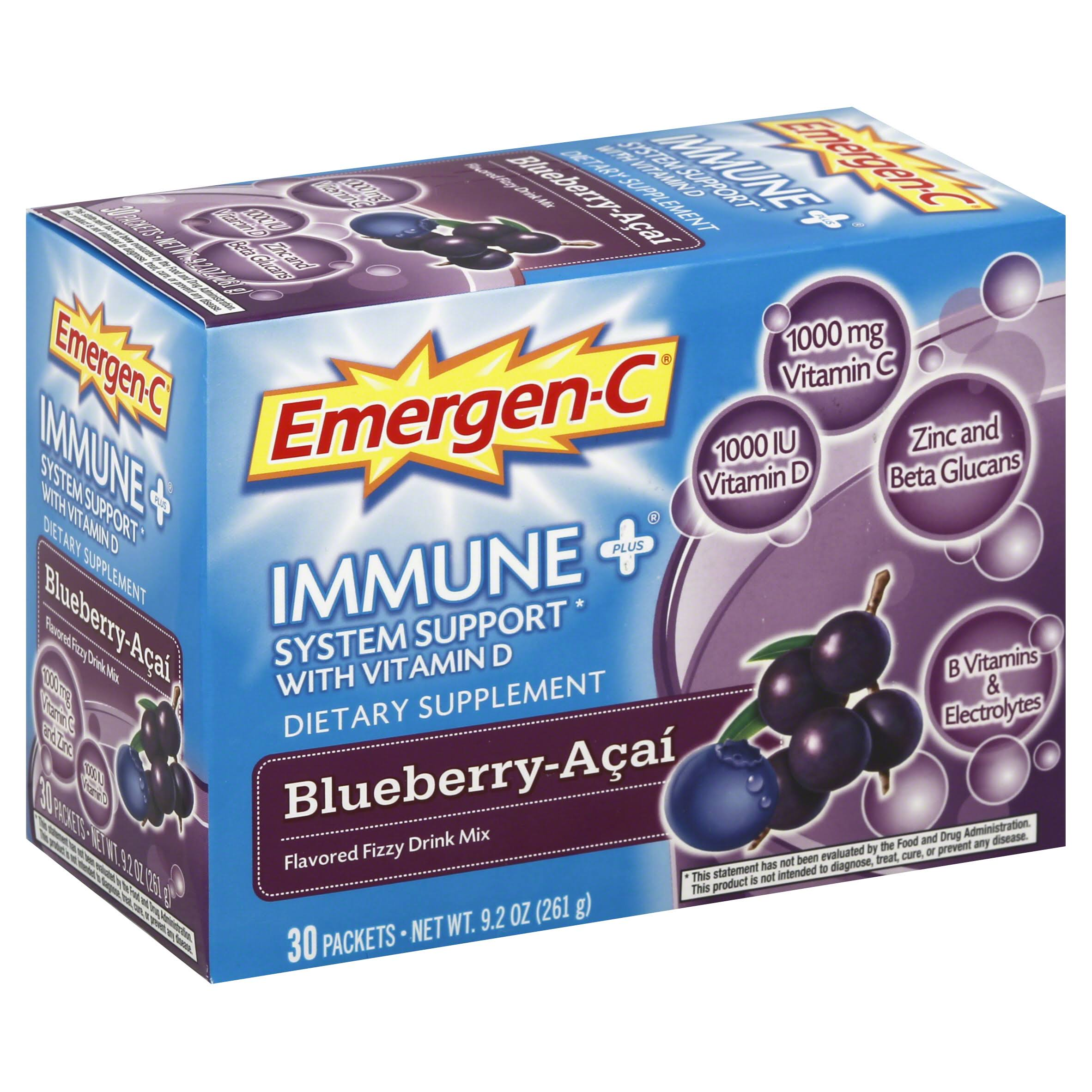 Emergen-C Immune+ System Support With Vitamin D - 30 Packets, 261g, Blueberry-Acai