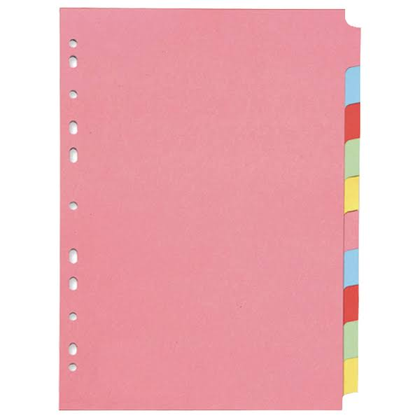 Q-Connect A4 Multi Punched Subject Dividers - 10 pack