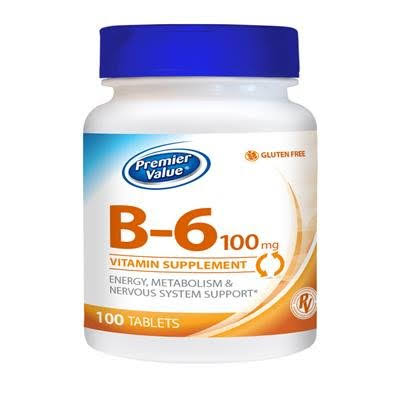 Premier Value B-6 Vitamin Supplement - 100mg Tablet 100 ct. Premier Value.