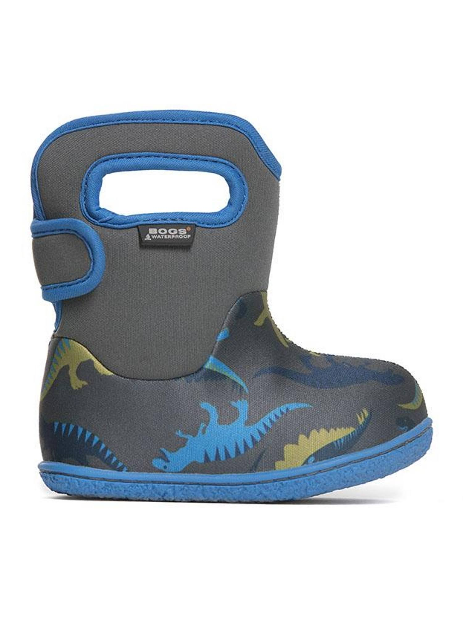 Bogs Baby Bogs Dino Waterproof Boots - Dino Dark Grey, 3 UK Infant
