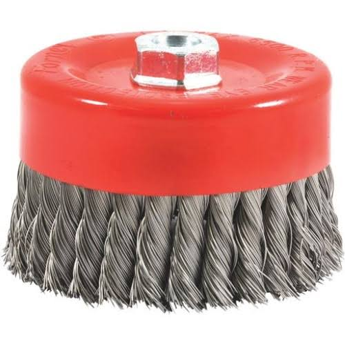 "Forney Threaded Arbor Knotted Wire Cup Brush - 6"" x 5/8""-11"