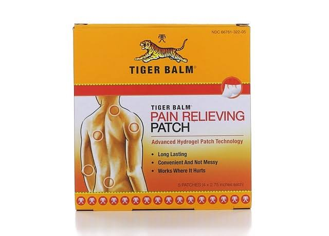 "Tiger Balm Pain Relieving Patch - 4"" x 2.75"", 5 Patches"