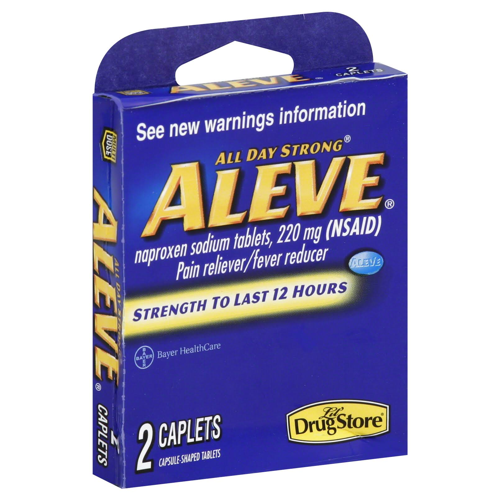 Aleve Pain Reliever/Fever Reducer (NSAID), 200 mg, All Day Strong, Aleve, Caplets - 2 caplets