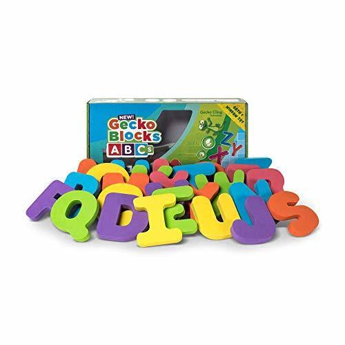 Gecko Blocks ABCs Foam Alphabet Sticks When Wet or Dry Stick to Windows, Bath Tub, Tile, Metal, Fridge, Washing Machine