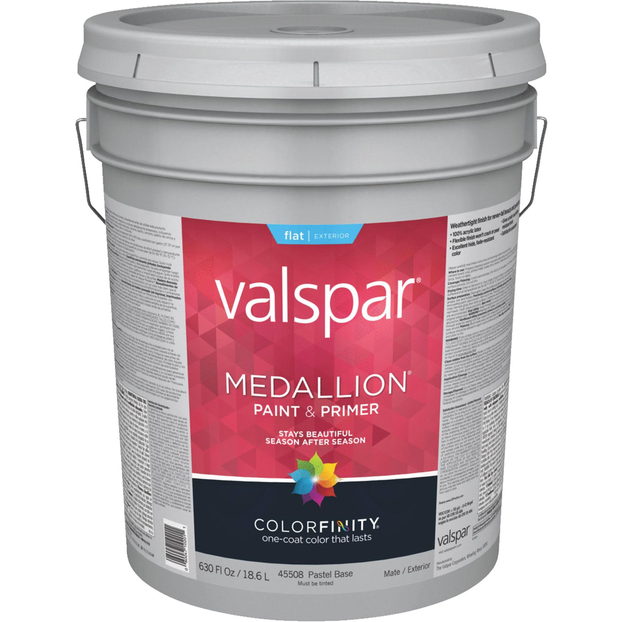 Valspar Brand Flat Pastel Base Medallion Exterior Latex House Paint - 1gal