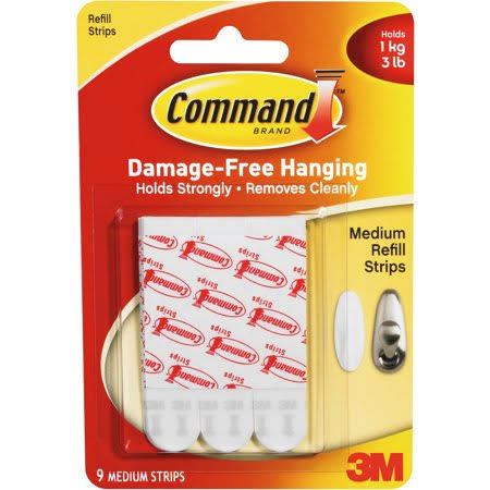 3M Command Refill Strips - Medium, White, 9-Strips