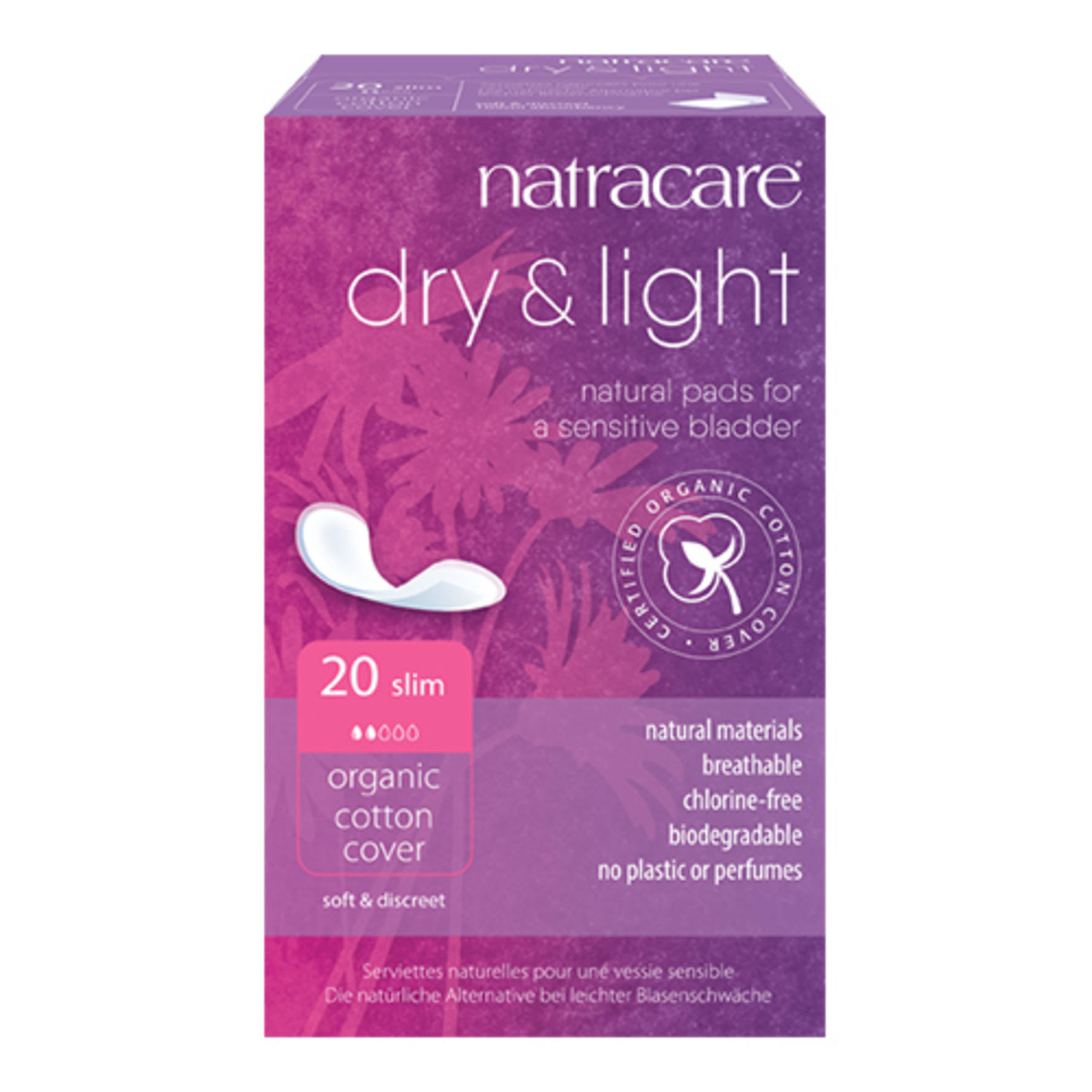 Natracare 57136 Dry and Light Natural Incontinence Pads - 20ct