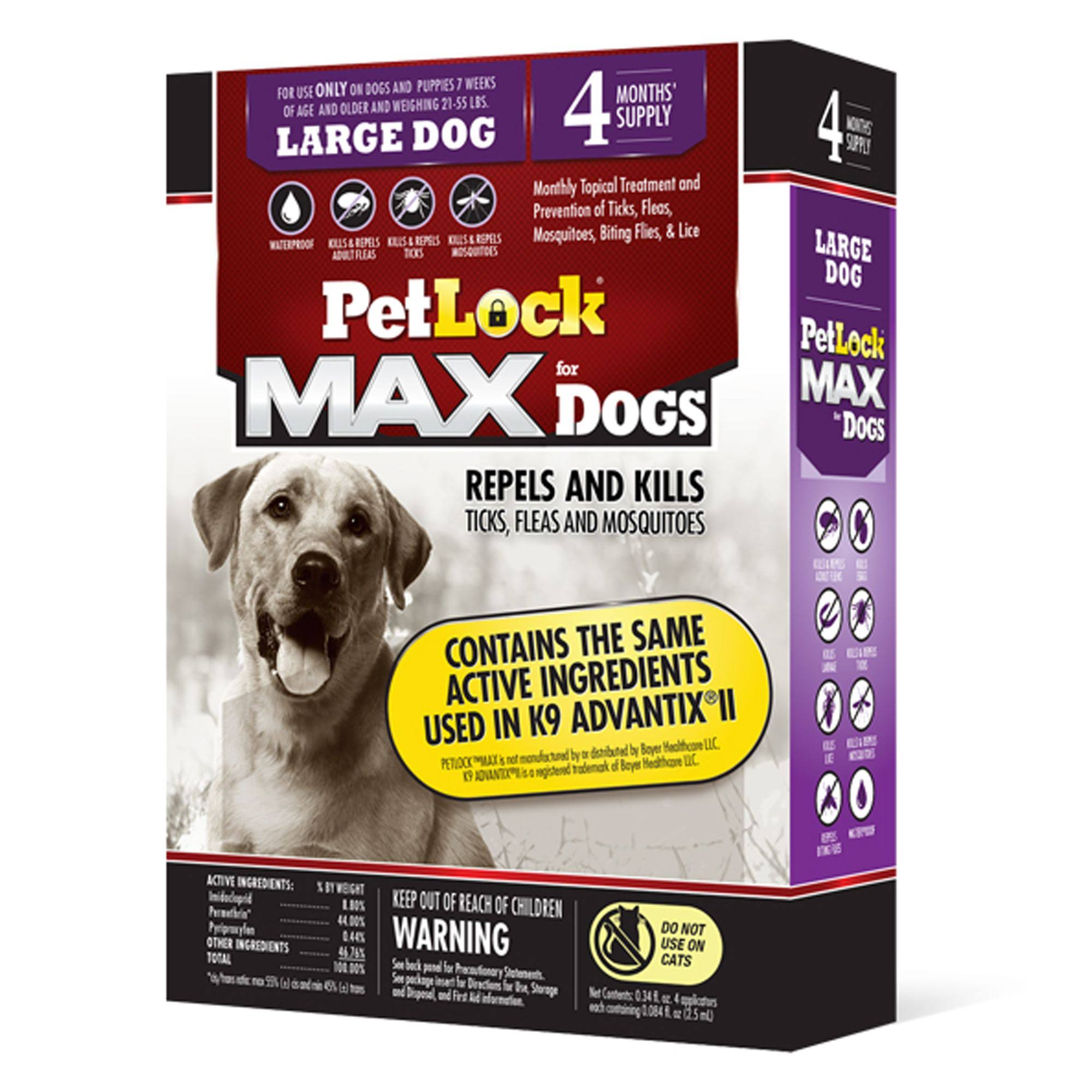 PetLock Max Flea and Tick Treatment for Dogs 21-55 lbs Size: 4 Count
