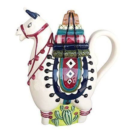 By Blue Sky Ceramics Llama Hand-Painted Ceramic Teapot - 9.5""