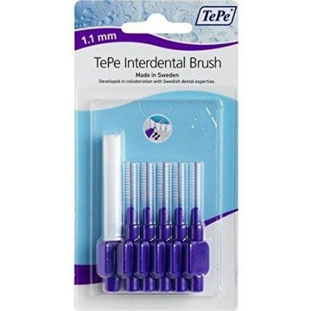 Tepe Interdent Purple Brushes - 1.1 mm, 6 Pack