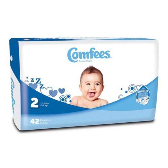 Comfees Baby Diapers, Size 2 (12-18 lbs) - Pack of 42
