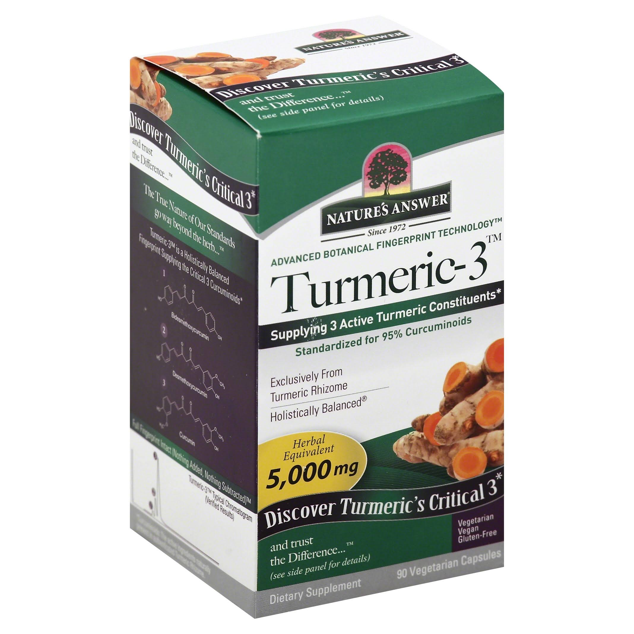 Nature's Answer Turmeric-3 Supplement - 90 Vegetarian Capsules