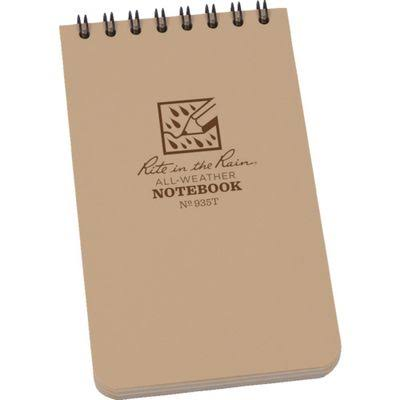 "Rite in the Rain All-Weather Top-Spiral Notebook - 3""x5"", Tan Cover"