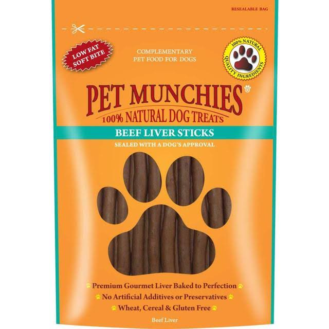 Pet Munchies 100% Natural Dog Treats - Beef Liver, 8 sticks