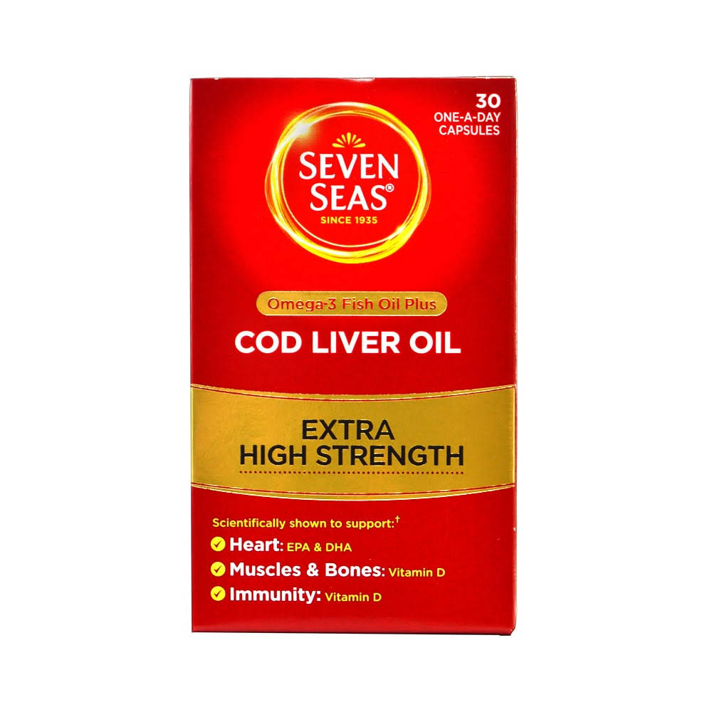 Seven Seas Cod Liver Oil Plus Omega 3 Fish Oil Maximum Strength Capsules - 30ct