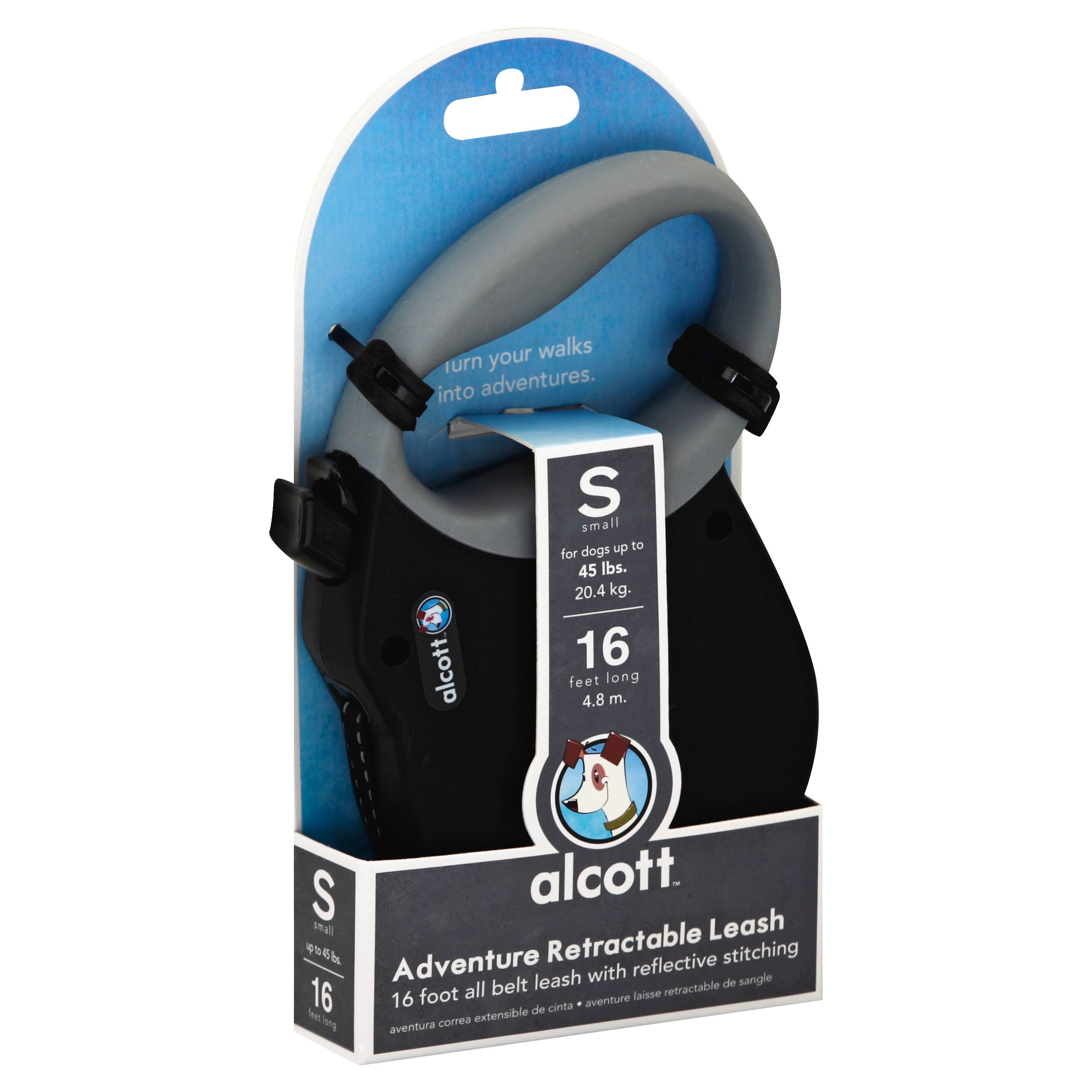 Alcott Essentials Retractable Adventure Pet Leash - Black, Small